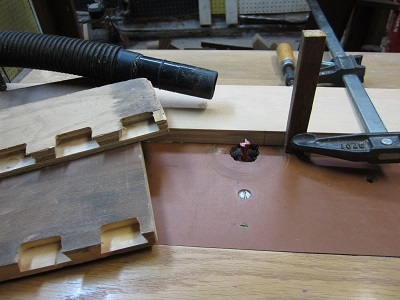 Setup for cutting dovetails